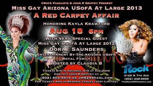 Show Ad | Miss Gay Arizona USofA at Large | The Rock (Phoenix, Arizona) | 8/18/2013