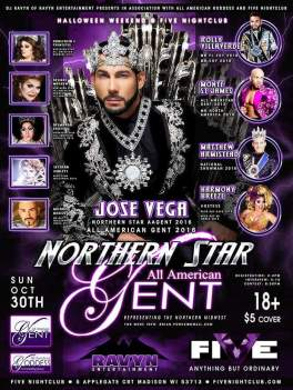 Show Ad | Northern Star All American Star Gent | Five Night Club (Madison, Wisconsin) | 10/30/2016