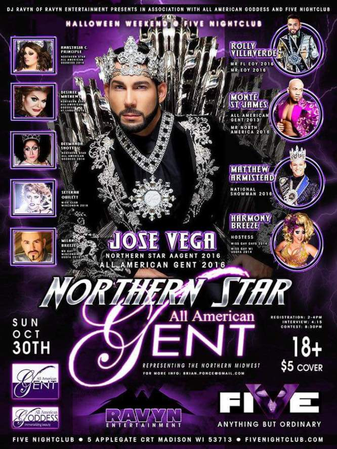 Show Ad   Northern Star All American Star Gent   Five Night Club (Madison, Wisconsin)   10/30/2016