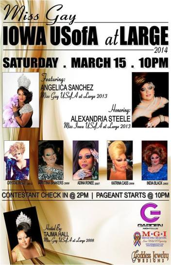 Show Ad   Miss Gay Iowa USOfA at Large   Garden Nightclub (Des Moines, Iowa)   3/15/2014