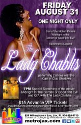 Show Ad | The Lady Chablis | Metro Entertainment Complex (Jacksonville, Florida) | 8/31/2012
