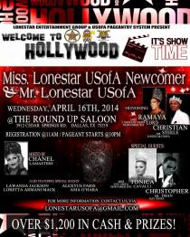 Show Ad | Miss Gay Lonestar USofA Newcomer and Mr. Gay Lonestar USofA | The Roundup Saloon (Dallas, Texas) | 4/16/2014