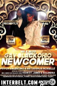 Show Ad | Mr. and Miss Gay Black Ohio Newcomer | Interbelt Nite Club (Akron, Ohio) | 2/11/2018