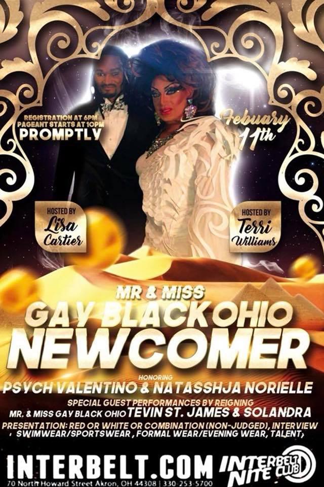 Show Ad | Mr. and Miss Gay Black Ohio Newcomer | Interbelt Nite Club (Akron, Ohio) | 2/11/2018