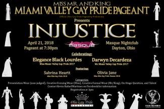 Show Ad   Miss Miami Valley Gay Pride, Mr. Miami Valley Gay Pride and Mr. Miami Valley Gay Pride King   Masque (Dayton, Ohio)   4/21/2018