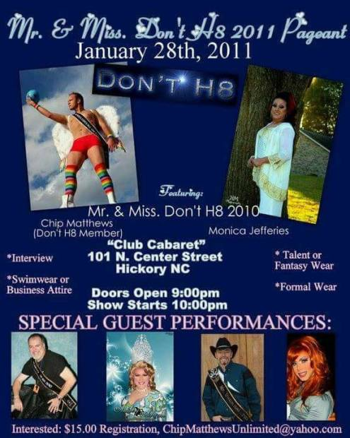Show Ad | Mr. and Miss Don't H8 | Club Cabaret (Hickory, North Carolina) | 1/28/2011