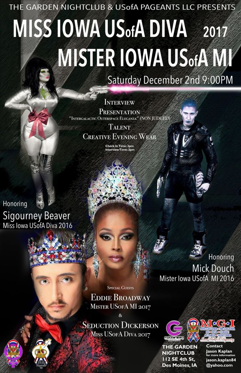 Show Ad | Miss Iowa USofA Diva and Mister Iowa USofA M.I. | Garden Nightclub (Des Moines, Iowa) | 12/2/2017