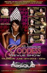 Show Ad | All American Goddess Revue Show | Masque (Dayton, Ohio) | 6/13/2013