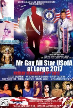 Show Ad | Mr. Gay All Star USofA at Large | Casablanca Night Club (Bakersfield, California) | 2/17/2017