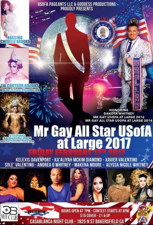 Show Ad   Mr. Gay All Star USofA at Large   Casablanca Night Club (Bakersfield, California)   2/17/2017