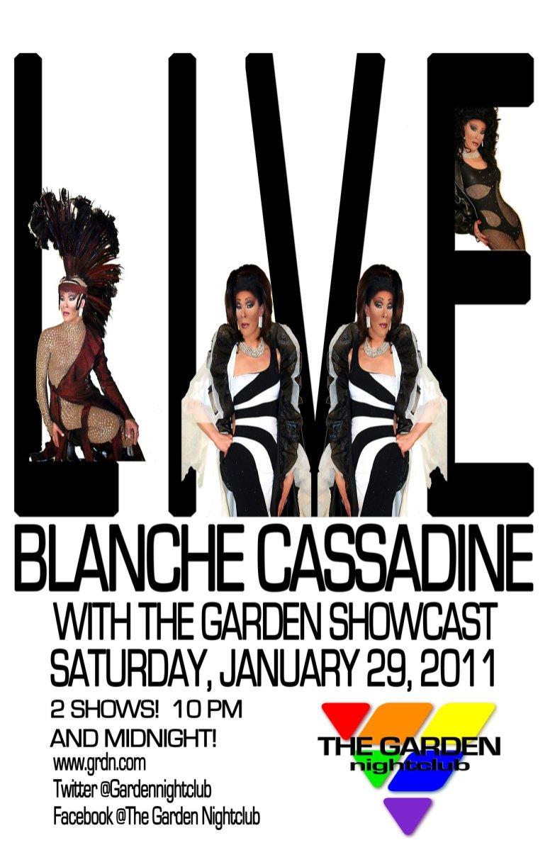Show Ad | Blanche Cassadine with the Garden Showcast | Garden Nightclub (Des Moines, Iowa) | 1/29/2011