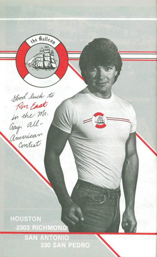 Ad featuring Ron East in support for his quest to be the first Mr. Gay All-American | circa 1983