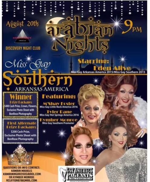 Show Ad | Miss Gay Southern Arkansas America | Discovery Night Club (Little Rock, Arkansas) | 8/20/2016