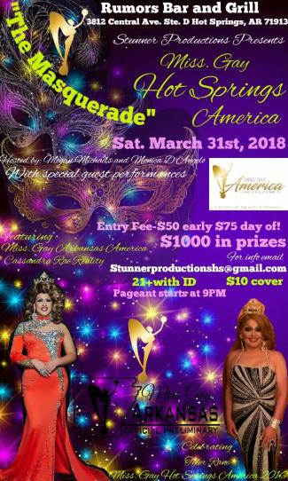 Show Ad | Miss Gay Hot Springs America | Rumors Bar and Grill (Hot Springs, Arkansas) | 3/31/2018