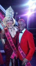 Solandra Tasaki Dupree and Tevin St. James at Mr. and Miss Gay Black Ohio Newcomer pageant.