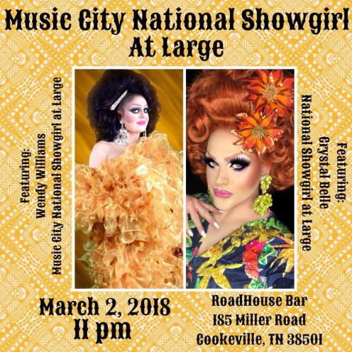 Show Ad | Music City National Showgirl at Large | Roadhouse Bar (Cookeville, Tennesee) | 3/2/2018