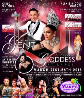 Show Ad | All American Gent and All American Goddess at Large | Hamburger Mary's (Daytona Beach, Florida) | 3/21-3/26/2018