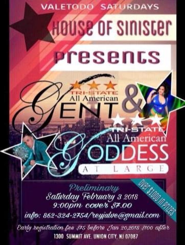 Show Ad | Tri-State All American Gent and Tri-State All American Goddess at Large | Union City, New Jersey | 2/3/2018