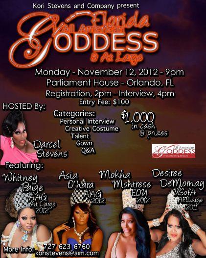 Show Ad | Florida All American Goddess at Large | Parliament House (Orlando, Florida) } 11/12/2012
