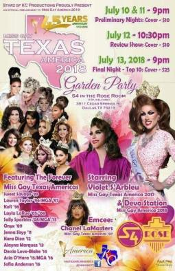 Show Ad   Miss Gay Texas America   Rose Room at Station 4 (Dallas, Texas)   7/10-7/13/2018
