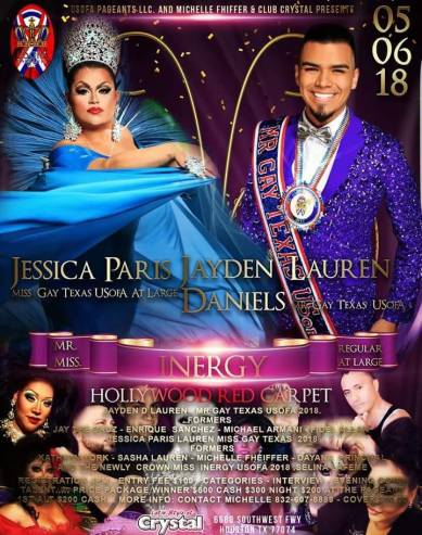 Show Ad | Miss Gay Inergy USofA at Large and Mr. Gay Inergy USofA | Crystal (Houston, Texas) | 5/6/2018