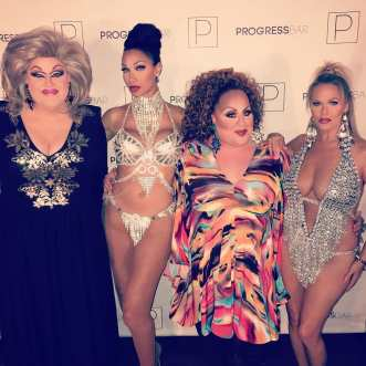 India Black, Joan Jullian, Mercedes Tyler and Mimi Marks at Progress Bar (Chicago, Illinois) in June of 2018.