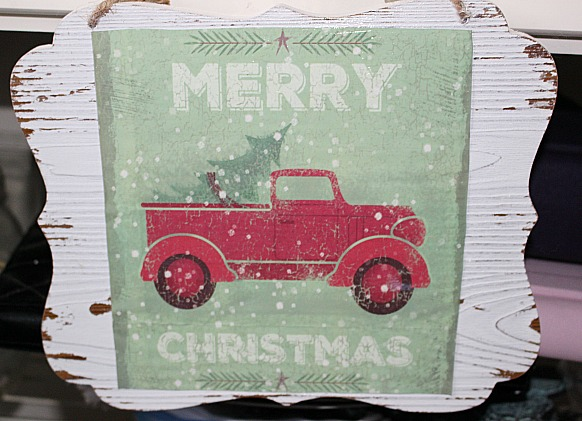 Little Red Truck Wood Sign From A Dollar Store Gift Bag