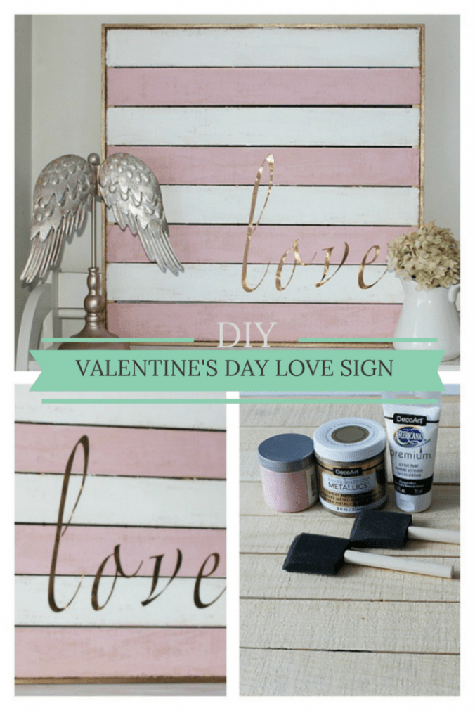 DIY Valentine's Day Love Sign CentsibleChateau.com #valentinesday #diysign