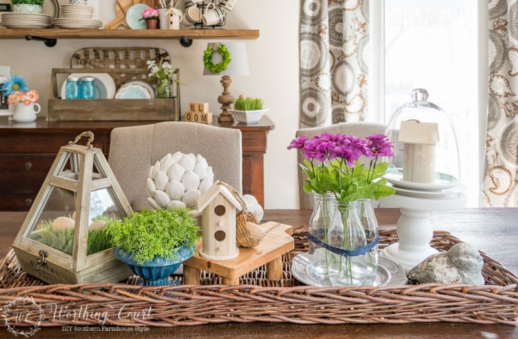 Farmhouse Style Spring Centerpiece Ideas Centsible Chateau #springfarmhousedecor #springdecorating #farmhousestyle