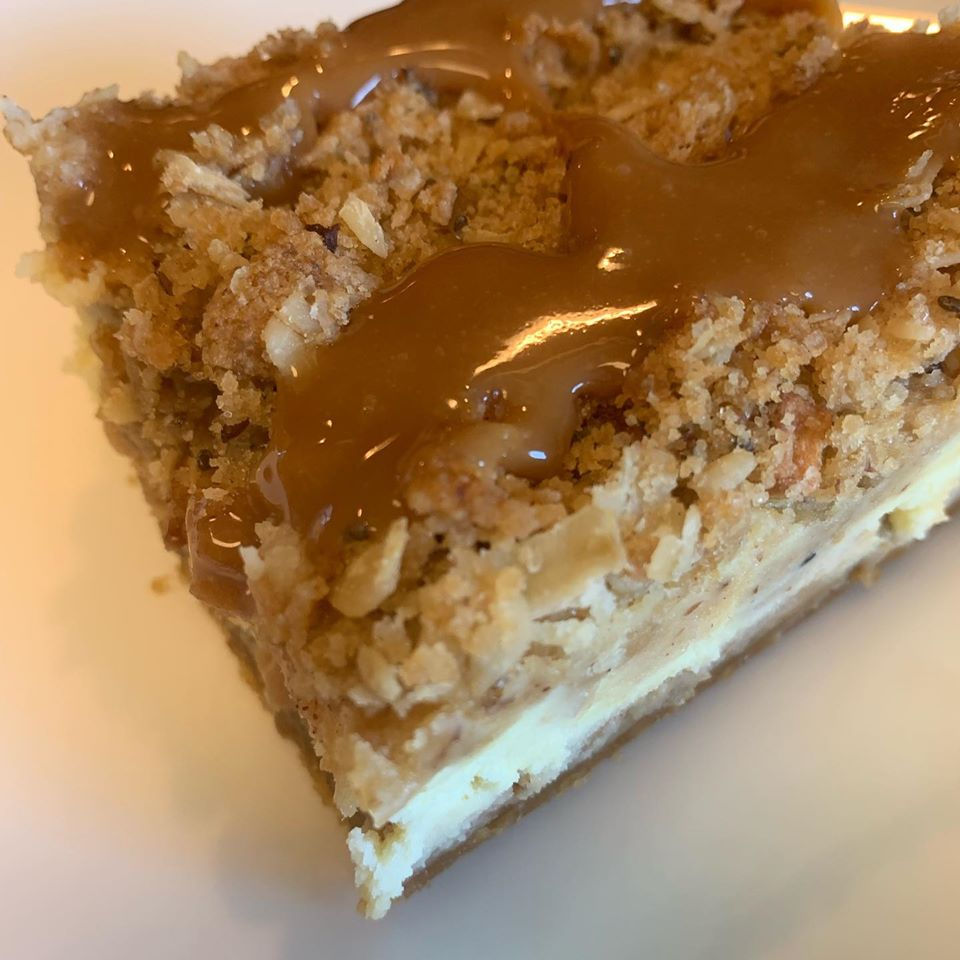 Caramel Apple Cheesecake with Streusel Topping