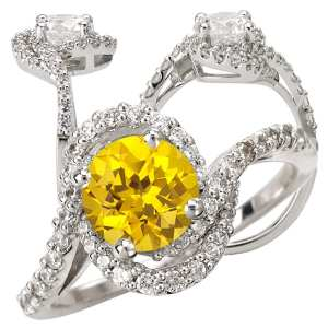 Round Chatham lab-grown yellow sapphire engagement ring