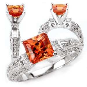 117034pd princess cut Chatham padparadschaengagement ring