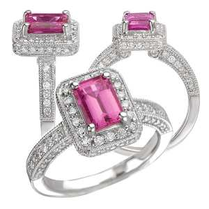 117051ps Emerald cut Chatham pink sapphire engagement ring