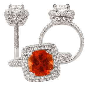 117096cpd Cushion Cut Padparadscha Engagement Ring