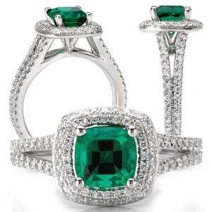 117101em Square Cushion Cut Chatham Emerald Engagement Ring
