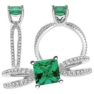 117111em Princess cut Chatham Emerald Engagement Ring