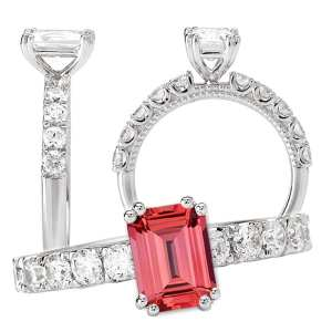 117317-100pd Emerald Cut Chatham Padparadscha Engagement Ring