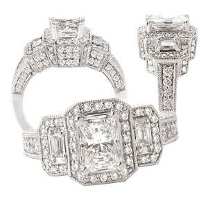 117777 emerald cut diamond semi-mount engagement ring