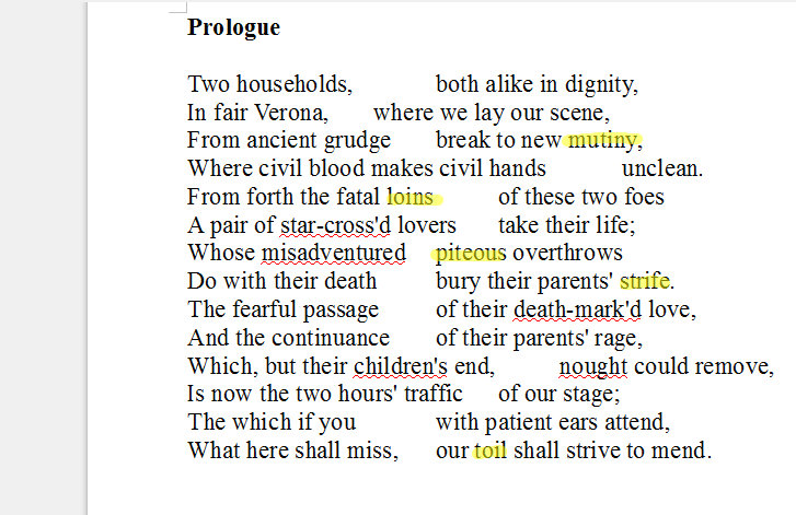 prologue to romeo and juliet