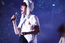 Baekhyun wears a striped animal hat