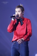 Kris in a red shirt with a bow tie