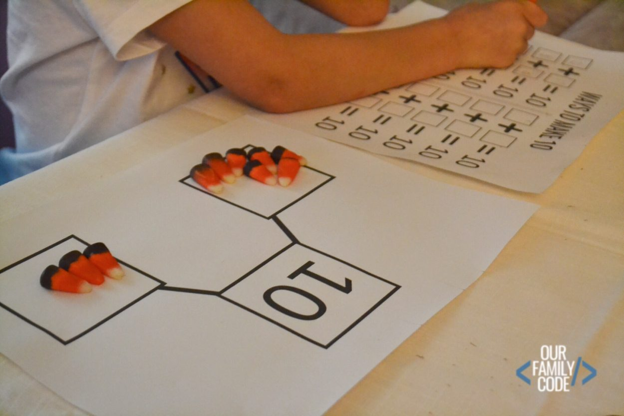 Composing Amp Decomposing The Number 10 With Candy Corn
