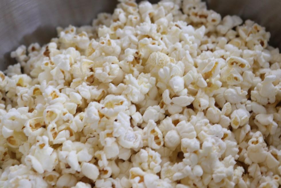 popcorn on a silver tray