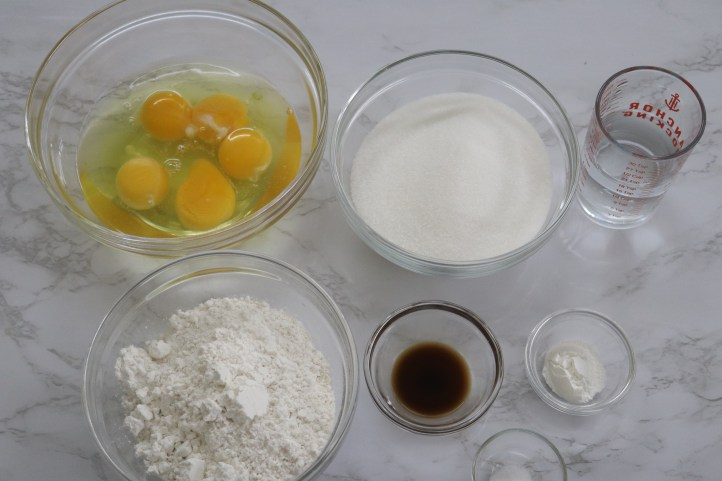 Ingredients for cake roll