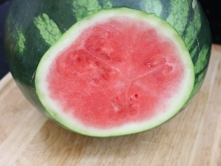 End sliced off of a watermelon