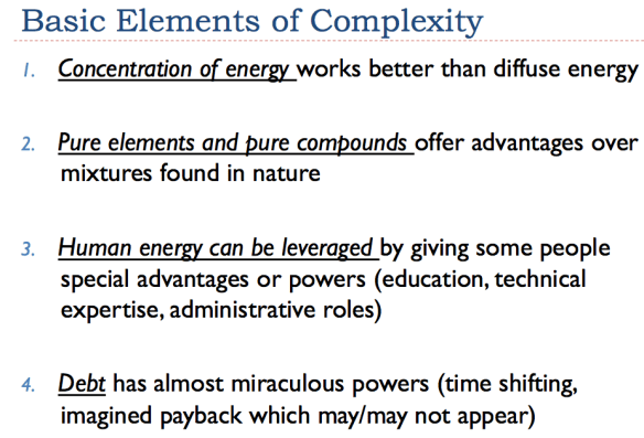 Figure 3. Slide 7 from my recent complexity presentation. Basic Elements of Complexity