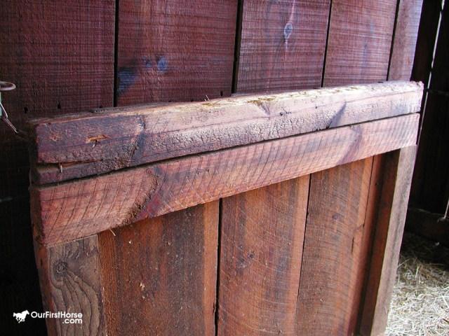 Wood stall door before