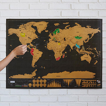Deluxe World Scratch Map | Travel gift ideas for teenage boys with uncommon goods
