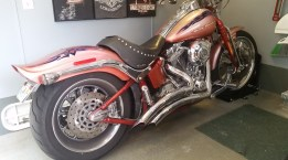 One of 2 Harley's in the garage