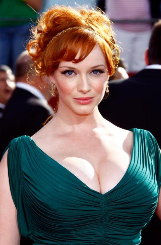 Christina Hendricks' Red- Hair Updo